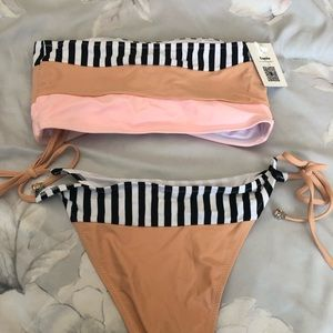 Cupshe black and white stripe strapless bikini set